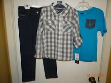 NWT 3 Piece US Polo Assn Outfit Boys Size 6 Dark Jeans, Button Down Top, T-Shirt
