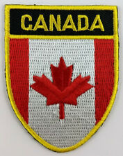 Canada Flag Shield Crest Patch Embroidered Iron On Sew On Canadian