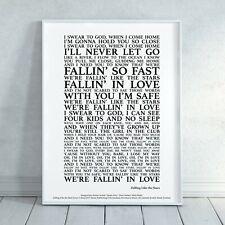 Falling Like The Stars James Arthur Song Lyrics Print Poster (Unframed) Wall Art