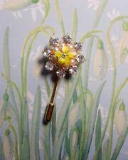 PRIMROSE PIN on Chrystal Diamante Rhinestone Pearl Christmas Brooch HAND PAINTED
