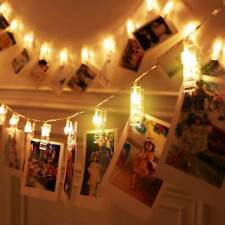 30 LED Hanging Picture Photo Peg Clip Fairy String Lights Party Bedroom Decor