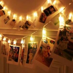 LED Photo Picture Hanging Peg Clips Fairy String Light Up Party Bedroom Decor UK
