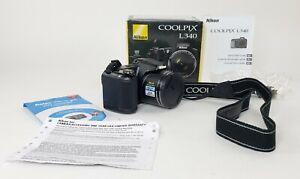 Nikon Coolpix L340 20.2 MP Digital Camera With Strap + Box + Guide + More