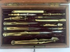 Luxurious French Antique Drafting Compass Set in Machagony Wood Case, 1800's