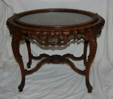 Antique Intricately Carved Mahogany Side Table Lift out Glass Serving Tray