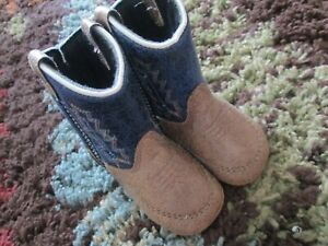 Old West Infant Baby Boys' Poppet Boot - Round Toe  - 10104 - TAN / Blue  Sz 1
