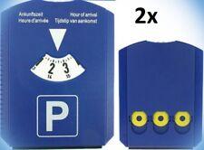 2x Auto Parkscheibe 15x12cm ; 4 sprachig mit Eiskratzer und 3 Einkaufschips blau