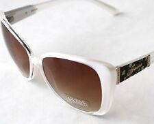 New Authentic Guess Women Sunglasses GU 7213 White Pearl Silver Brown Butterfly