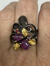 Sterling Silver Size 8 Vintage Red Ruby Ring 925