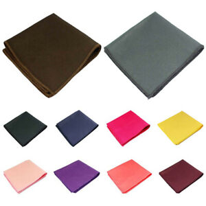 Men Cotton Solid Pocket Square Wedding Party Candy Color Handkerchief Hanky