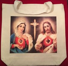 Catholic Tote Bag - Sacred Heart Of Jesus, Sacred Heart Of Mary, Canvas Tote Bag