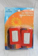 Lot de deux Réglable Bagages Bretelles-Bagages Sangle & Adresse étiquette Set-Entièrement NEUF dans sa boîte