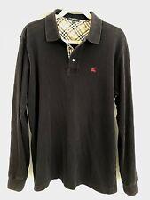 Burberry London Black Long Sleeve Nova Check Men's Polo Pullover Sz Large $375