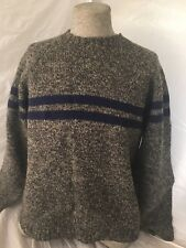 Abercrombie  fitch Gray Blue Stripe Wool Mens Sweater XL Shetland Wool Made H K