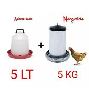 MANGIATOIA PER GALLINE TRAMOGGIA ANTISPRECO 5kg  METALLO+ABBEVERATOIO 5LT MANICO