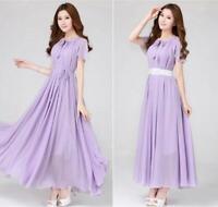 Long Pleated Chiffon Casual Dress Women High Waist Dress Summer Beachwear Maxi