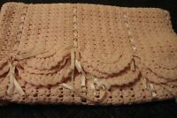 VINTAGE Hand Knit Crocheted Pink Baby Blanket w/ Ribbons Quilt Nursery Decor 216