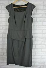 SUITS YOU BY JACQUI E Pencil peplum dress Sz 12 Dark grey