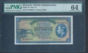 BERMUDA £1 P16 1947 KGVI PMG 64 choice Unc