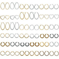 Women Gold/Silver Stainless Steel Hoop Earrings Fashion Rhinestones Lady Jewelry