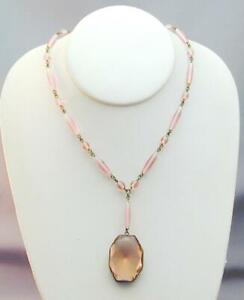 Art Deco Czech Pink Glass Lavalier Necklace STUNNING