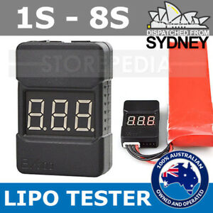 Lipo Battery Tester with CASE Checker Low Voltage Alarm 1S-8S LED Volt RC bx100