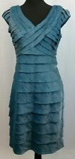 London Times Petite Shiny Blue Teal Tiered Dress - Size 10P - VGC