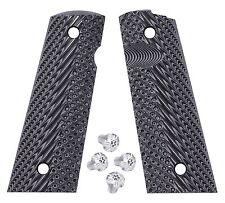 1911 G10 grips SLIM Magwell  BlackGray + Silver stainless Star Torx grip screws