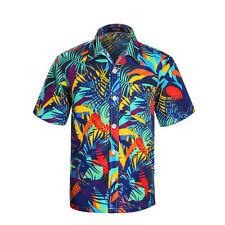 Mens Tropical Hawaiian Print Shirt Short Sleeve Beach Blue hawaiian Aloha Shirts
