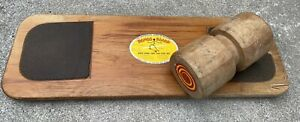 "VINTAGE ORIGINAL WOOD BONGO BOARD BALANCE GAME NY USA 1960'S 34"" BALANCE FITNESS"