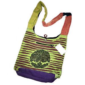 BOHO Patchwork Crossbody Purse Cotton Peace Bag Hippie Gypsy ☮️ Tie Dye Tree Lif
