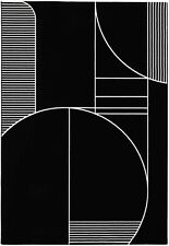 White on Black - Superior Quality Modern Arty Area Rug Bold design Soft to touch