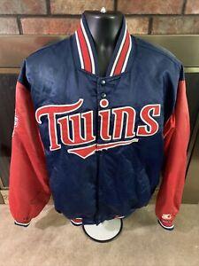 Vintage Starter Minnesota Twins MLB Baseball Satin Jacket Mens Large Dugout Vtg