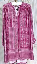 NEW~ Plus Size 2X Purple Pink Print Travel Boho Tunic Top Blouse