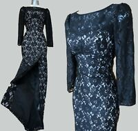 Size 10 KAREN MILLEN Black Lace Long Sleeves Cocktail Pencil Long Maxi Dress 38
