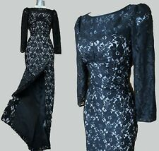 Size 10 KAREN MILLEN Black Lace Long Sleeves Cocktail Pencil Long Maxi Dress 38