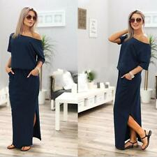 Women Long Maxi BOHO Evening Party Short Sleeve Off Shoulder Dress with Pocket