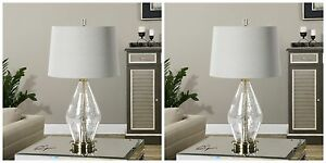 """PAIR 29"""" SPEZZANO CRACKLED GLASS TABLE BUFFET LAMP BRUSHED BRASS METAL LIGHT"""