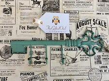 SASS & BELLE  IRON BOUDOIR KEY TRiPLE HOOK DUCK EGG BLUE VINTAGE STYLE HOME