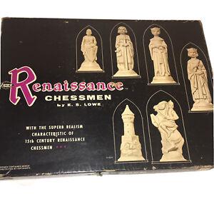 1959 Vintage Chess Set E.S Lowe Renaissance Chessmen Chess Board Game Original