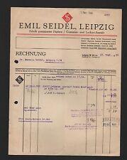 LEIPZIG, Rechnung 1936, Emil Seidel Fabrik gummierter Papiere Gummier-Lackier-An