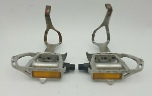 """SR SP-155 Wide Platform Touring Pedals 9/16"""" Vintage Cycle Pro Toe Clips Used"""