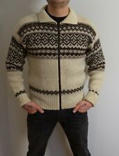 VINTAGE WOOL CLIPPER NORWEGIAN ZIPPER CARDIGAN JUMPER SWEATER CREAM BROWN S