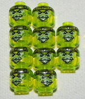 LEGO LOT OF 10 NEW TRANPARENT NEON GREEN MONSTER ALIEN GHOST MINIFIGURE HEADS