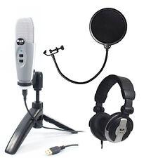 CAD U37 GREY USB Studio Vocal Recording Mic Package + Pop Filter + Headphones