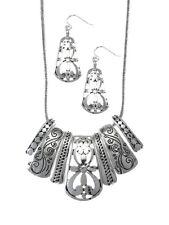 Seven Etched  Black & Silver Filigree Pendant  NECKLACE & EARRING SET