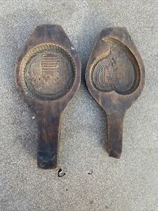 Vintage Wooden Cookie Molds Lot Of 2
