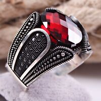 Turkish Jewelry Ruby Red Stone 925 Sterling Silver Mens Ring Select Size USA 88