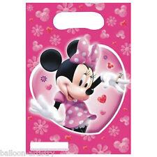 6 Disney Minnie Mouse Rosa Festa Bottino Buste Regalo