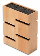 Grunwerg Bamboo Wood Knife Block Square Universal Fibre For Most Knives